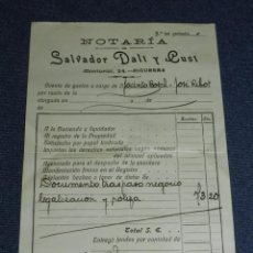 Arte: (M) SALVADOR DALÍ Y CUSI, AUTOGRAFO ORIGINAL 1931, NOTARÍA DE SALVADOR DALÍ Y CUSÍ. Lote 213537217
