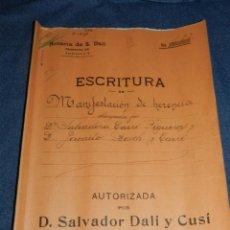 Arte: NOTARÍA DE D. SALVADOR DALÍ Y CUSÍ CON AUTOGRAFO ORIGINAL 1939, ESCRITURA,8 PAG, 22,5X32CM. Lote 213540940