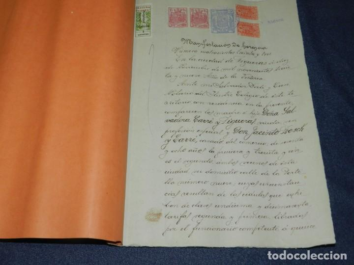 Arte: NOTARÍA DE D. SALVADOR DALÍ Y CUSÍ CON AUTOGRAFO ORIGINAL 1939, ESCRITURA,8 PAG, 22,5X32CM - Foto 2 - 213540940