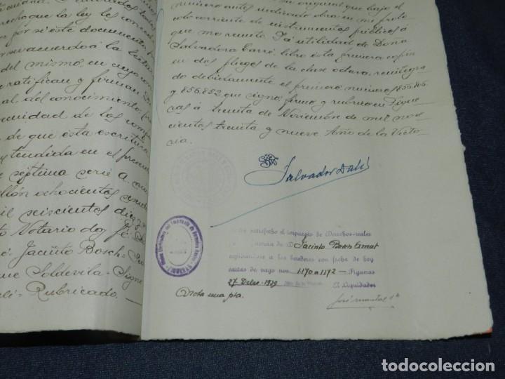 Arte: NOTARÍA DE D. SALVADOR DALÍ Y CUSÍ CON AUTOGRAFO ORIGINAL 1939, ESCRITURA,8 PAG, 22,5X32CM - Foto 3 - 213540940