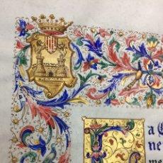 Arte: PERGAMINO DE VILLAFRANCA DEL PENEDES HOMENAJE A CORONEL 1929. Lote 214800656