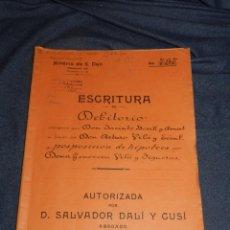 Arte: NOTARÍA DE D. SALVADOR DALÍ Y CUSÍ CON AUTOGRAFO ORIGINAL 1930, ESCRITURA,16 PAG, 22,5X32CM. Lote 216375521