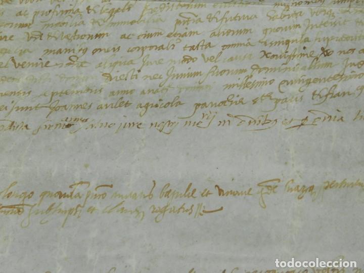 Arte: (M) PERGAMINO MEDIEVAL 1581 GERUNDE / GERONA - 43X39CM, SEÑALES DE USO DE LA ÉPOCA - Foto 9 - 216436235