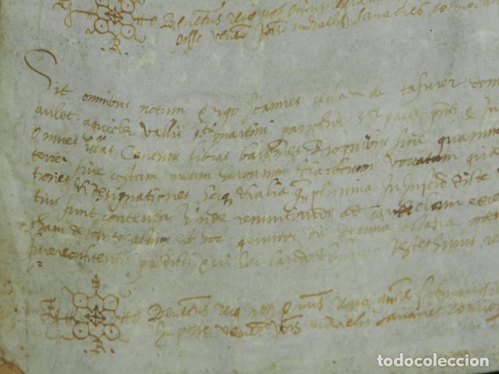 Arte: (M) PERGAMINO MEDIEVAL 1581 GERUNDE / GERONA - 43X39CM, SEÑALES DE USO DE LA ÉPOCA - Foto 12 - 216436235