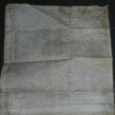 Arte: (M) PERGAMINO MANUSCRITO MEDIEVAL DE SAN PEDRO DE RODA AÑO 1558, 70X61CM, SEÑALES DE USO DE LA ÉPOCA. Lote 217008562