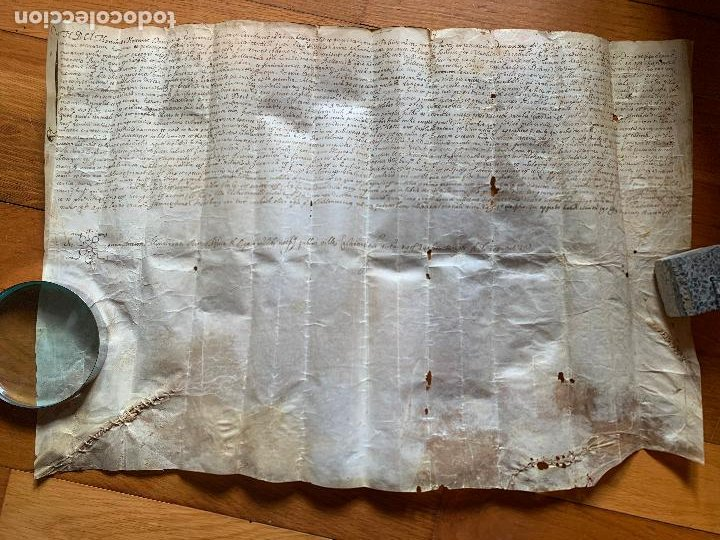ANTIGUO PERGAMINO, ANCIENT PARCHMENT , DE PIEL, MANUSCRITO. VER FOTOS (Arte - Manuscritos Antiguos)