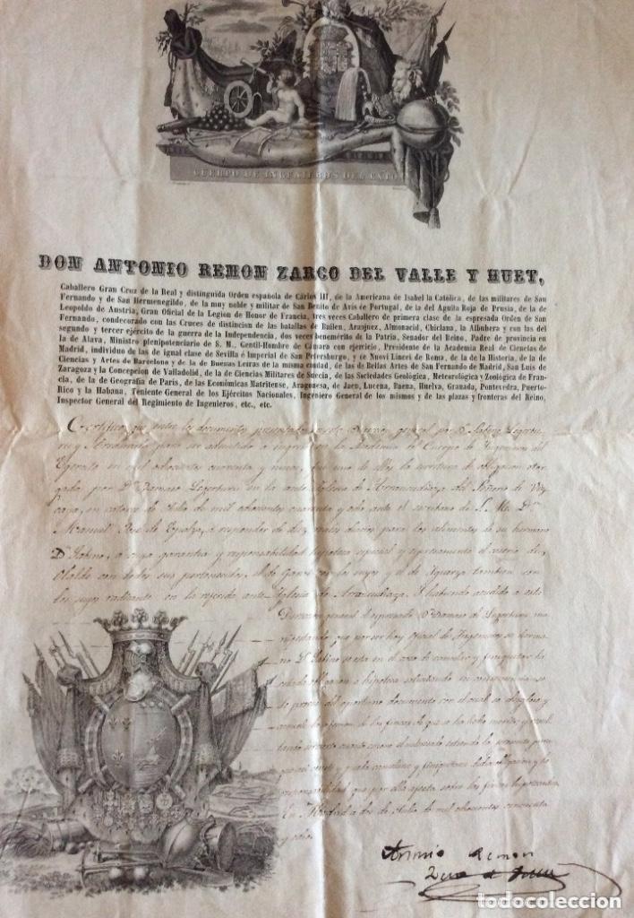 ANTIGUO DOCUMENTO DON ANTONIO REMON ZARCO DEL VALLE Y HUET 1858 (Arte - Manuscritos Antiguos)