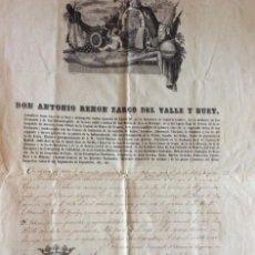 Arte: ANTIGUO DOCUMENTO DON ANTONIO REMON ZARCO DEL VALLE Y HUET 1858. Lote 225608780