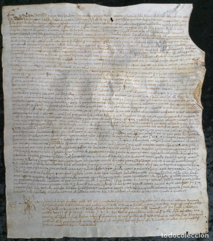 MANUSCRITO PERGAMINO 35,5X31CM BESALU - LA BISBAL - GIRONA (Arte - Manuscritos Antiguos)