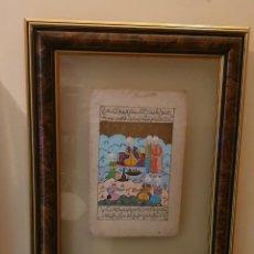 Arte: ANTIGUA Y ORIGINAL HOJA LIBRO CON MINIATURA PINTADA A MANO ENMARCADA ENTRE CRISTALES. Lote 243059970