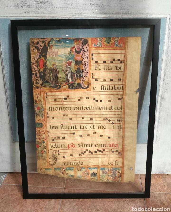 HOJA CANTORAL DOBLE CARA AÑO 1545 CON MINIATURA ILUMINADA A MANO ENMARCADO DOBLE CRISTAL (Arte - Manuscritos Antiguos)