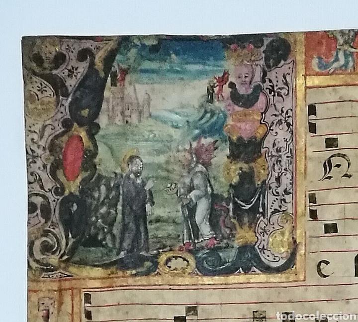 Arte: Hoja cantoral doble cara año 1545 con miniatura iluminada a mano enmarcado doble cristal - Foto 3 - 246534715
