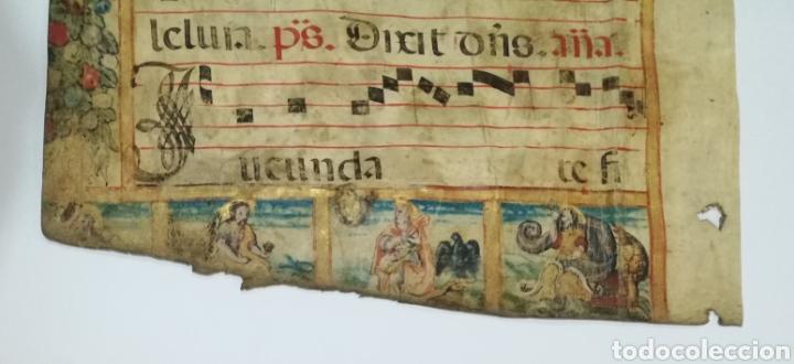 Arte: Hoja cantoral doble cara año 1545 con miniatura iluminada a mano enmarcado doble cristal - Foto 4 - 246534715