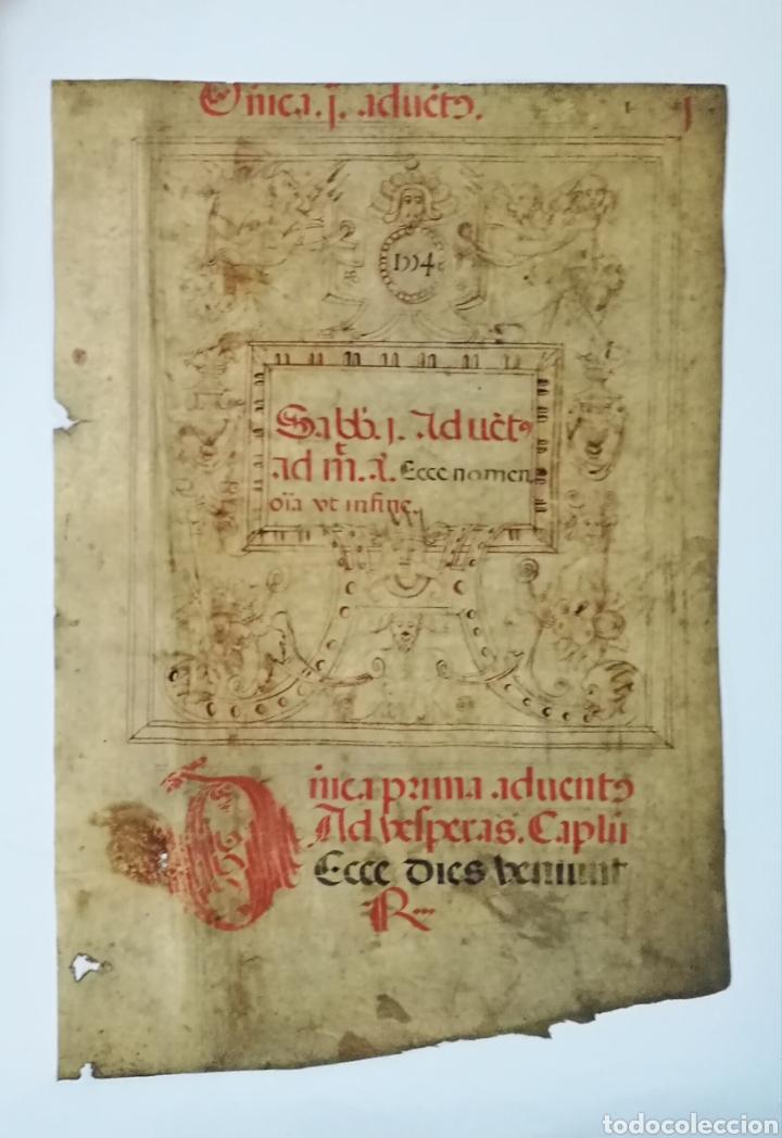 Arte: Hoja cantoral doble cara año 1545 con miniatura iluminada a mano enmarcado doble cristal - Foto 5 - 246534715