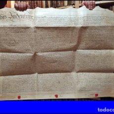 Arte: AÑO 1794: ENORME MANUSCRITO EN PERGAMINO DE 87 CM. CON 3 SELLOS ROJOS LACRADOS. SIGLO XVIII. Lote 247312080