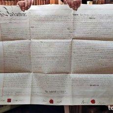 Arte: AÑO 1842: ENORME MANUSCRITO EN PERGAMINO DE 78 CM. CON 3 SELLOS ROJOS LACRADOS. SIGLO XIX.. Lote 254662935