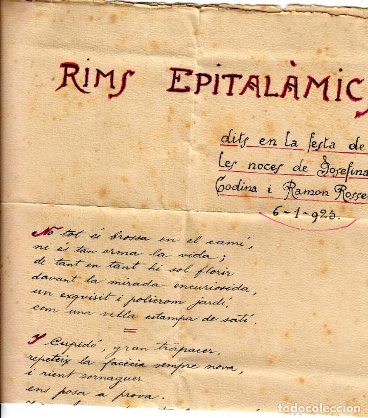 DANIEL FORNS I CARRERAS - RIMS EPITALÀMICS - MANUSCRIT I SIGNAT - 06.01.1925 - 480X22MM. (Arte - Manuscritos Antiguos)