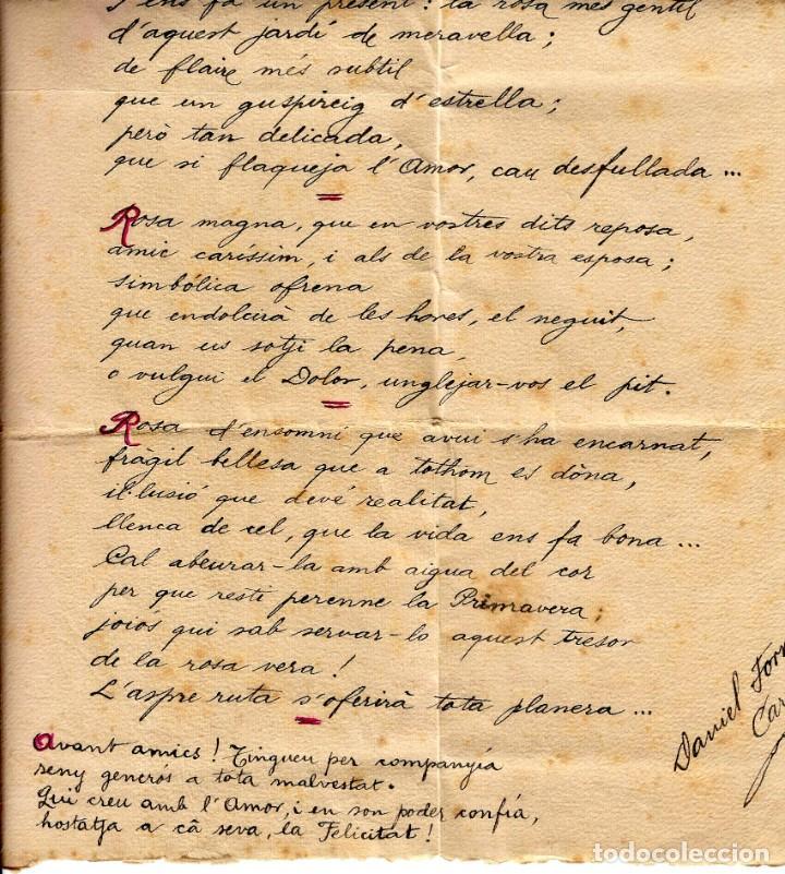 Arte: Daniel Forns i Carreras - Rims Epitalàmics - Manuscrit i Signat - 06.01.1925 - 480x22mm. - Foto 2 - 262031150