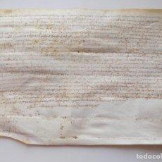 Arte: LIBRERIA GHOTICA. PERGAMINO MANUSCRITO DEL RENACIMIENTO. 1556.MOLÍ DE MAGDALENA. MANRESA. 30 X 20 CM. Lote 276683733
