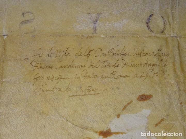 Arte: M) Pergamino certificado de fe de vida Filippo Vastavillano, cardenal ordenado Papa Gregorio XIII - Foto 7 - 172820878