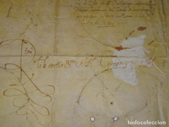 Arte: M) Pergamino certificado de fe de vida Filippo Vastavillano, cardenal ordenado Papa Gregorio XIII - Foto 8 - 172820878