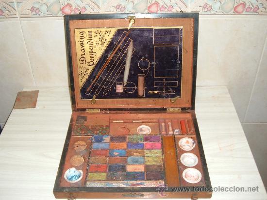 Arte: caja de pinturas en caoba y marqueteria de diferentes maderas enfajadas s XIX - Foto 3 - 26359329