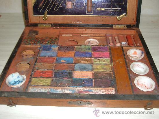 Arte: caja de pinturas en caoba y marqueteria de diferentes maderas enfajadas s XIX - Foto 4 - 26359329