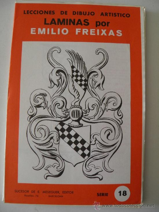 EMILIO FREIXAS. LÁMINAS DIBUJO ARTÍSTICO, SERIE ROJA 18, ORNAMENTAL 2. MESEGUER, BARCELONA. AÑO 1964 (Arte - Material de Bellas Artes)
