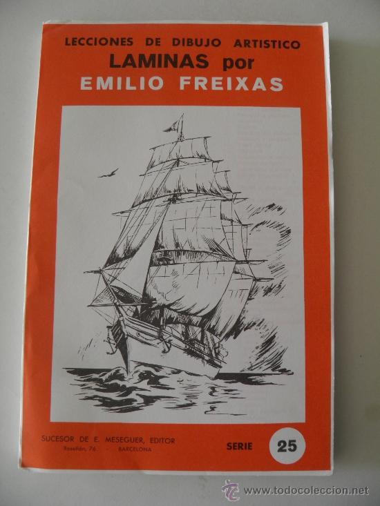 EMILIO FREIXAS. LÁMINAS DIBUJO ARTÍSTICO, SERIE ROJA 25, EMBARCACIONES. MESEGUER, BARCELONA. 1964 (Arte - Material de Bellas Artes)