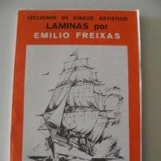 Arte: EMILIO FREIXAS. LÁMINAS DIBUJO ARTÍSTICO, SERIE ROJA 25, EMBARCACIONES. MESEGUER, BARCELONA. 1964. Lote 151068946