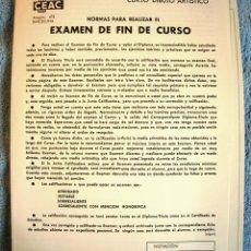Arte: CURSO DE DIBUJO ARTISTICO CEAC - EXAMEN FIN DE CURSO, EN BLANCO SIN UTILIZAR.. Lote 46450922