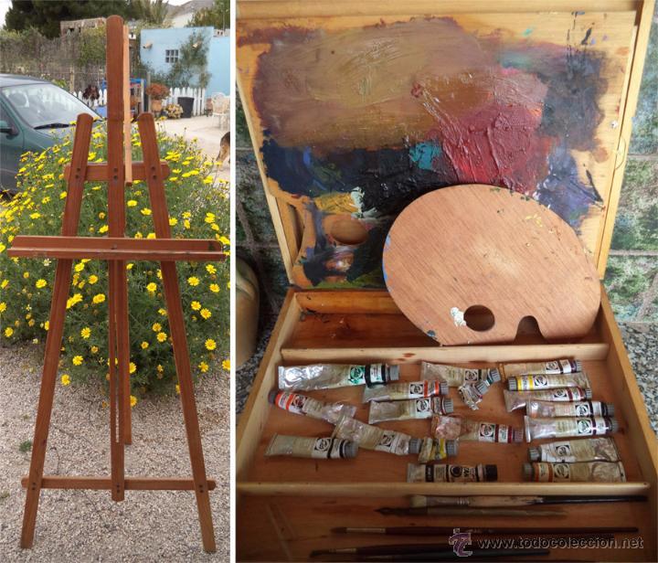 Caballete y caja de pintor con 2 paletas varios comprar for Bote de pintura precio