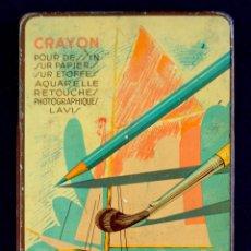 Arte: ANTIGUA CAJA-ESTUCHE DE PINTURAS METALICA. AÑOS 40. PASTELLO. CRAYON. MARQUISE. FRANCAISE.. Lote 51091730