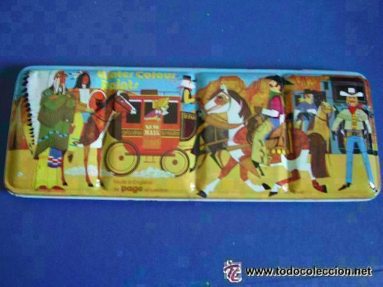 ANTIGUA LATA DE ACUARELAS, MARCA PAGE, LONDON. PRACTICAMENTE SIN USAR. 36 COLORES .. 10 X 25 CM (Arte - Material de Bellas Artes)