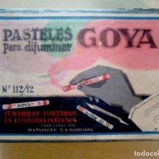 Arte: PASTELES GOYA PARA DIFUMINAR Nº 112 - 12 BARRAS DE COLORES - HASSINGER SA BARCELONA 1945. Lote 71254239