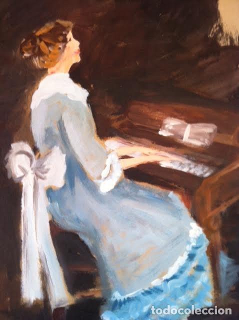 PRECIOSO CUADRO PINTURA DAMA ANTIGUA TOCANDO EL PIANO, SOBRE CARTULINA RÍGIDA GRUESA CON FIRMA (Arte - Material de Bellas Artes)