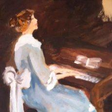 Arte: PRECIOSO CUADRO PINTURA DAMA ANTIGUA TOCANDO EL PIANO, SOBRE CARTULINA RÍGIDA GRUESA CON FIRMA. Lote 85784184