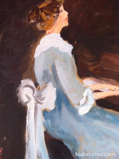 Arte: Precioso cuadro pintura dama antigua tocando el piano, sobre cartulina rígida gruesa con firma - Foto 2 - 85784184
