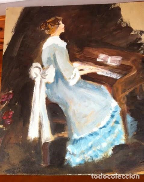 Arte: Precioso cuadro pintura dama antigua tocando el piano, sobre cartulina rígida gruesa con firma - Foto 3 - 85784184