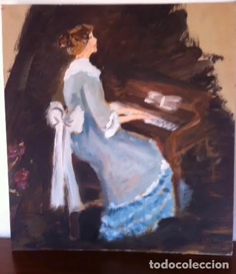 Arte: Precioso cuadro pintura dama antigua tocando el piano, sobre cartulina rígida gruesa con firma - Foto 4 - 85784184