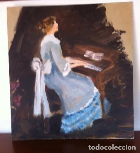 Arte: Precioso cuadro pintura dama antigua tocando el piano, sobre cartulina rígida gruesa con firma - Foto 5 - 85784184
