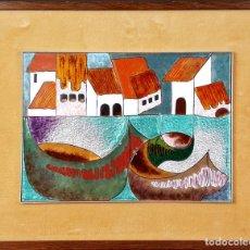 Arte: PAISAJE DE PUEBLO. CHIVA. VALENCIA. ESMALTE SOBRE CERÁMICA. PUIGMARTÍ. SIGLO XX. . Lote 88133424