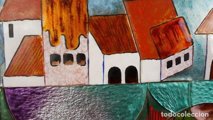 Arte: PAISAJE DE PUEBLO. CHIVA. VALENCIA. ESMALTE SOBRE CERÁMICA. PUIGMARTÍ. SIGLO XX. - Foto 4 - 88133424