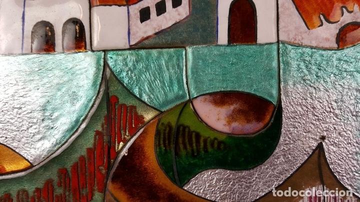 Arte: PAISAJE DE PUEBLO. CHIVA. VALENCIA. ESMALTE SOBRE CERÁMICA. PUIGMARTÍ. SIGLO XX. - Foto 6 - 88133424