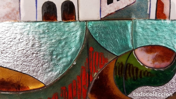Arte: PAISAJE DE PUEBLO. CHIVA. VALENCIA. ESMALTE SOBRE CERÁMICA. PUIGMARTÍ. SIGLO XX. - Foto 10 - 88133424