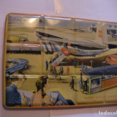 Arte: ANTIGUA Y ESPECTACULAR CAJA DE PINTURAS CON SERIGRAFIA AEROPUERTO GRAN TAMAÑO. Lote 107731975