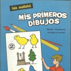 Arte: MIS PRIMEROS DIBUJOS DE LUIS MALLAFRÉ. CUARDERNO NUM. 2 METODO - CUESTIONARIO DIBUJO AL NATURAL.. Lote 173797867