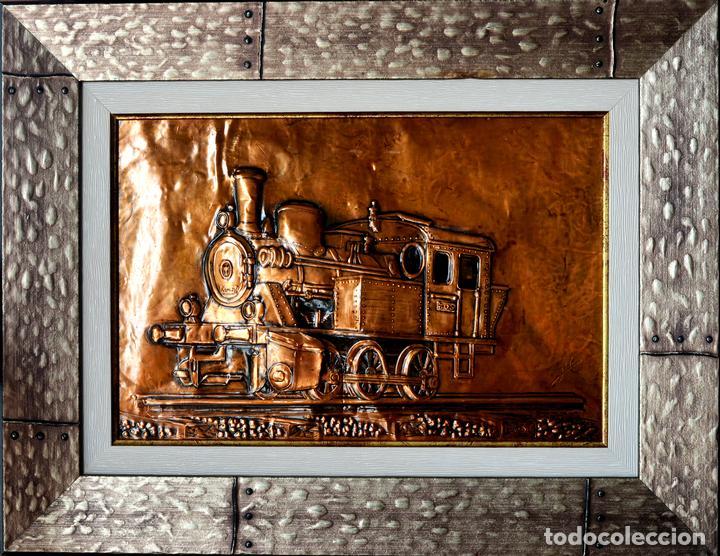 EXCEPCIONAL CUADRO EN COBRE BARNIZADO LOCOMOTORA DEL TREN BURRA VALLADOLID - MEDINA DE RIOSECO (Arte - Material de Bellas Artes)