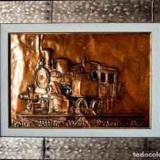 Arte: EXCEPCIONAL CUADRO EN ESTAÑO LOCOMOTORA DEL TREN BURRA VALLADOLID - MEDINA DE RIOSECO. Lote 132857894