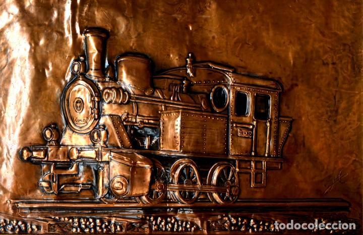 Arte: EXCEPCIONAL CUADRO EN COBRE BARNIZADO LOCOMOTORA DEL TREN BURRA VALLADOLID - MEDINA DE RIOSECO - Foto 2 - 132857894